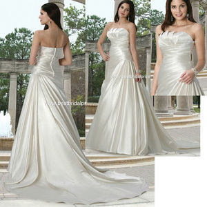 DaVinci Ivory Satin Modern Wedding Dress ruched